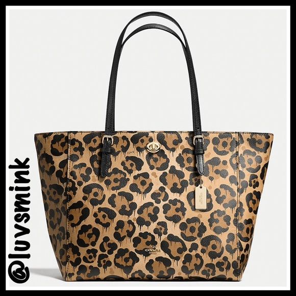 Large Coach Turnlock Tote Wild Beast For Lizzyp34 Leopard Print Handbags Leather Fashion Genuine Leather Totes