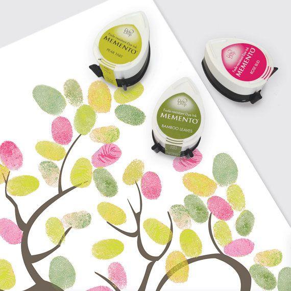 Fingerprint Guest Book Tree Ink Pads Momento Dew Drop