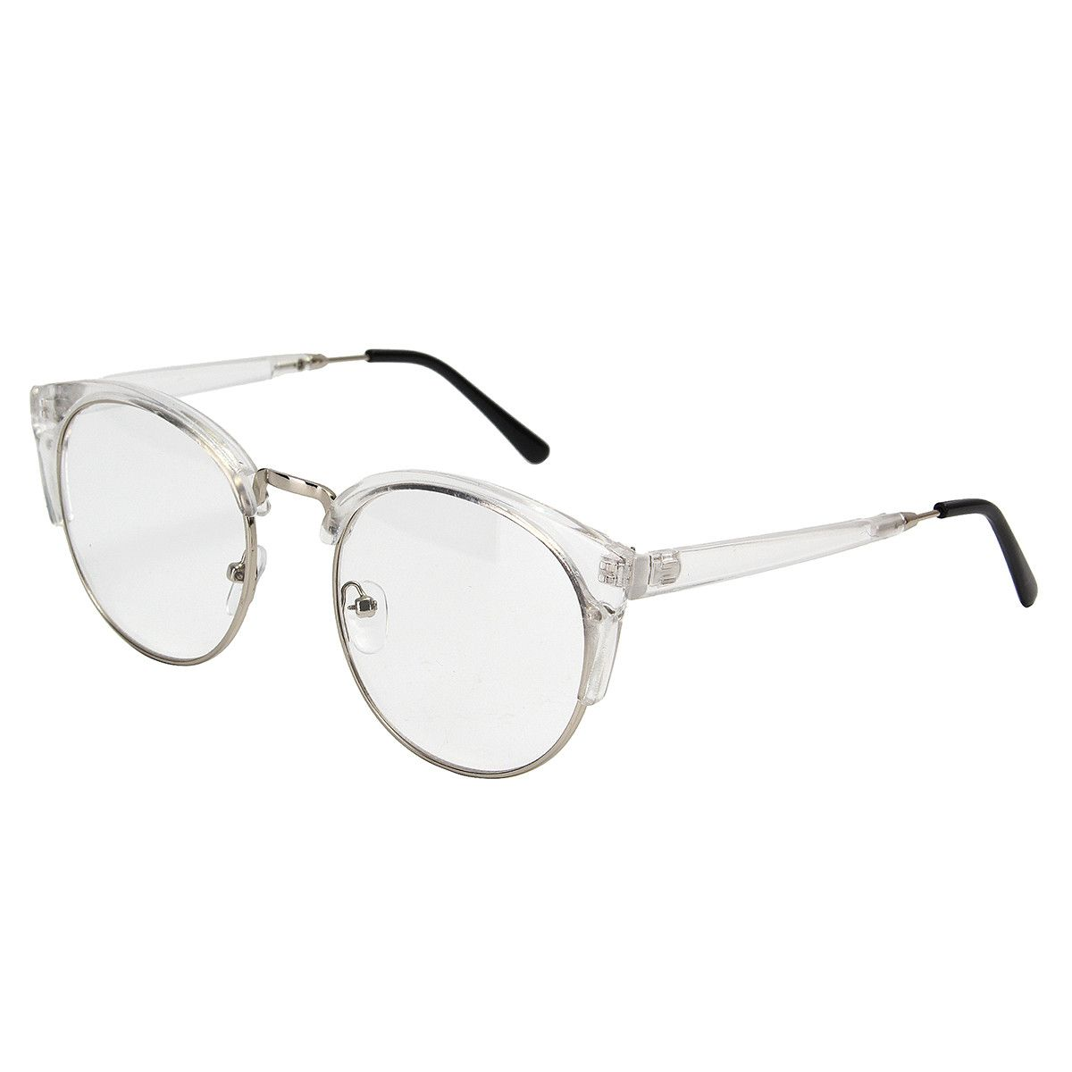 Llanura Gafas vendimia Anteojos con marcos de medio borde de metal ...