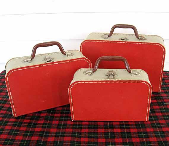 1950's Vintage Graduated  Red and White Graduated Suitcases