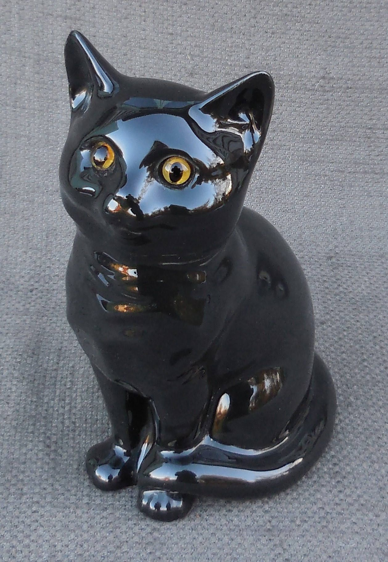 Adorable Lucky Black Cat Vintage Figurine Glass Eyes Large