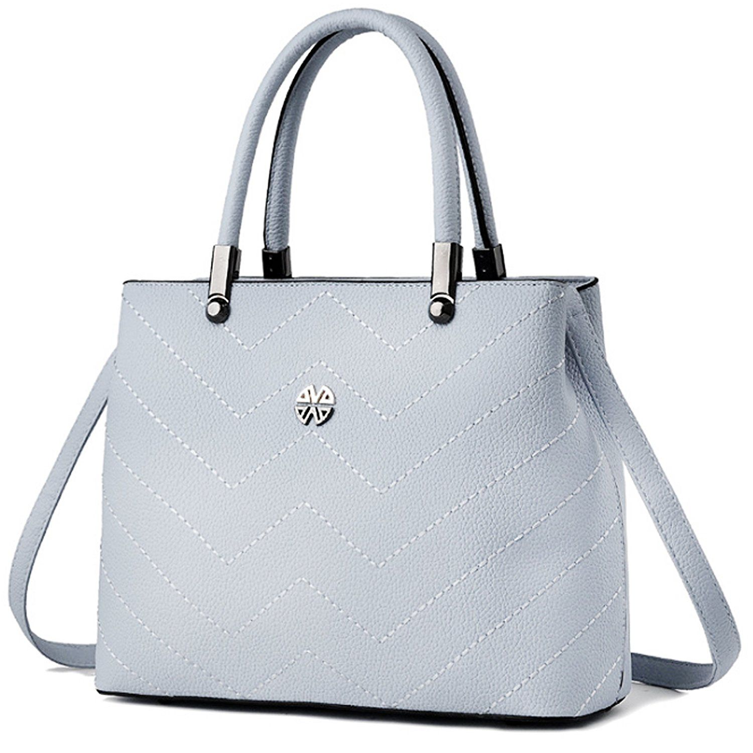 8ea891a955 Minch Women PU Leather Designer Tote Handbags Shoulder Bags for Work on  Clearance (Gray)