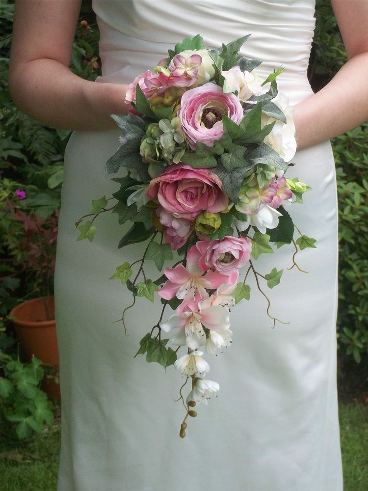 silk bouquets for weddings vintage style silk pink brides cascading wedding 7375