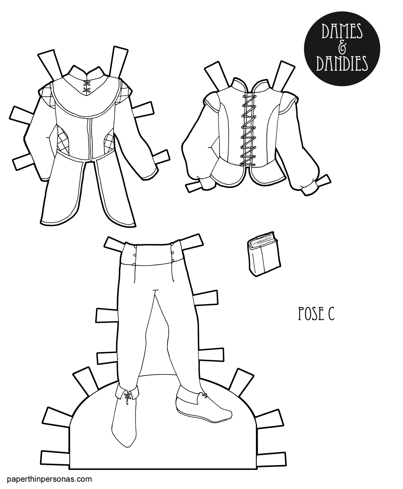 A Paper Doll Coloring Page Printable Featuring Guy Paper Doll