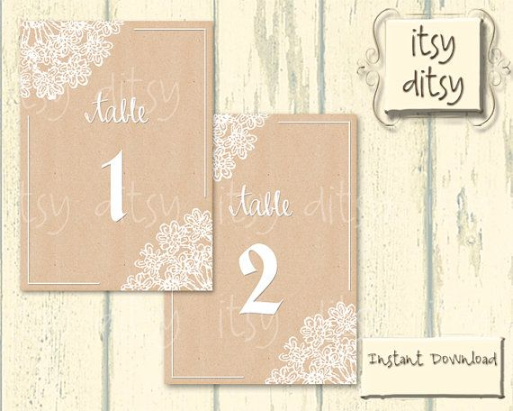 Lace Doily printable table number cards - Rustic kraft DIY table - Download Numbers Spreadsheet For Mac