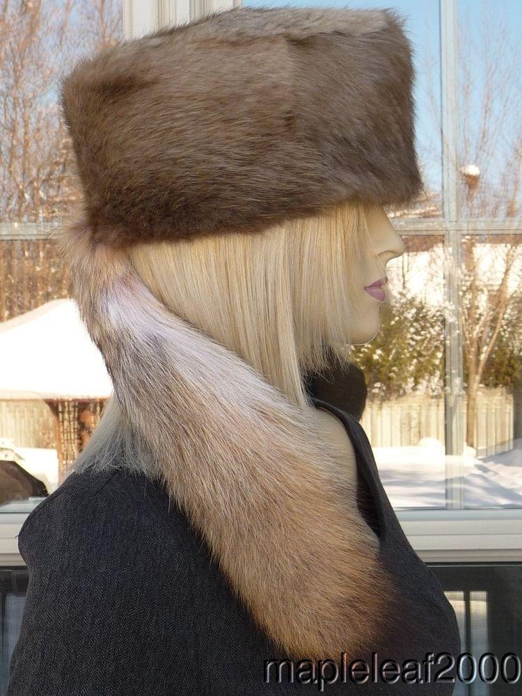 20538b2f7f1 eBay  Sponsored BEAVER Fur Hat w COYOTE TAIL FOR MEN   WOMEN NEW MEDIUM