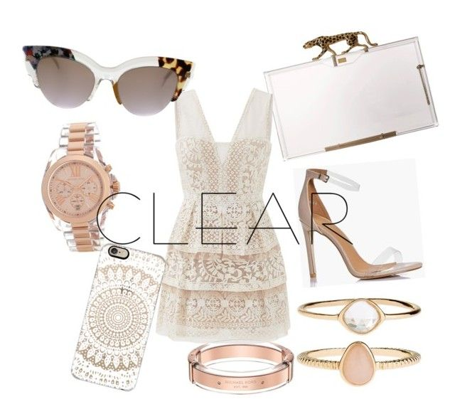 """Untitled #72"" by tholliscole ❤ liked on Polyvore featuring Boohoo, Charlotte Olympia, Accessorize, BCBGMAXAZRIA, Fendi, MICHAEL Michael Kors, Casetify, Michael Kors, clear and Seethru"