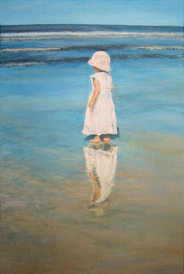"Jolien, painting; ""child on the beach"", artist at Art Studio Moes"