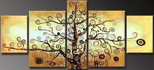 handmade 5 piece black white golden modern abstract wall art money ...