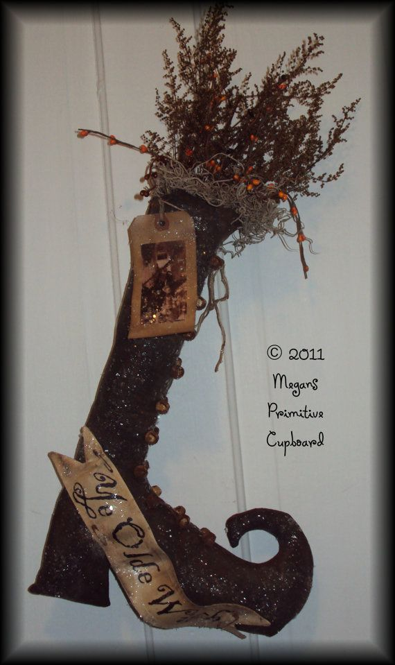 Primitive Grungy Folkart Fall Halloween Witch Stocking Door Hanger Doll handmade by Megans Primitive Cupboard for sale!!