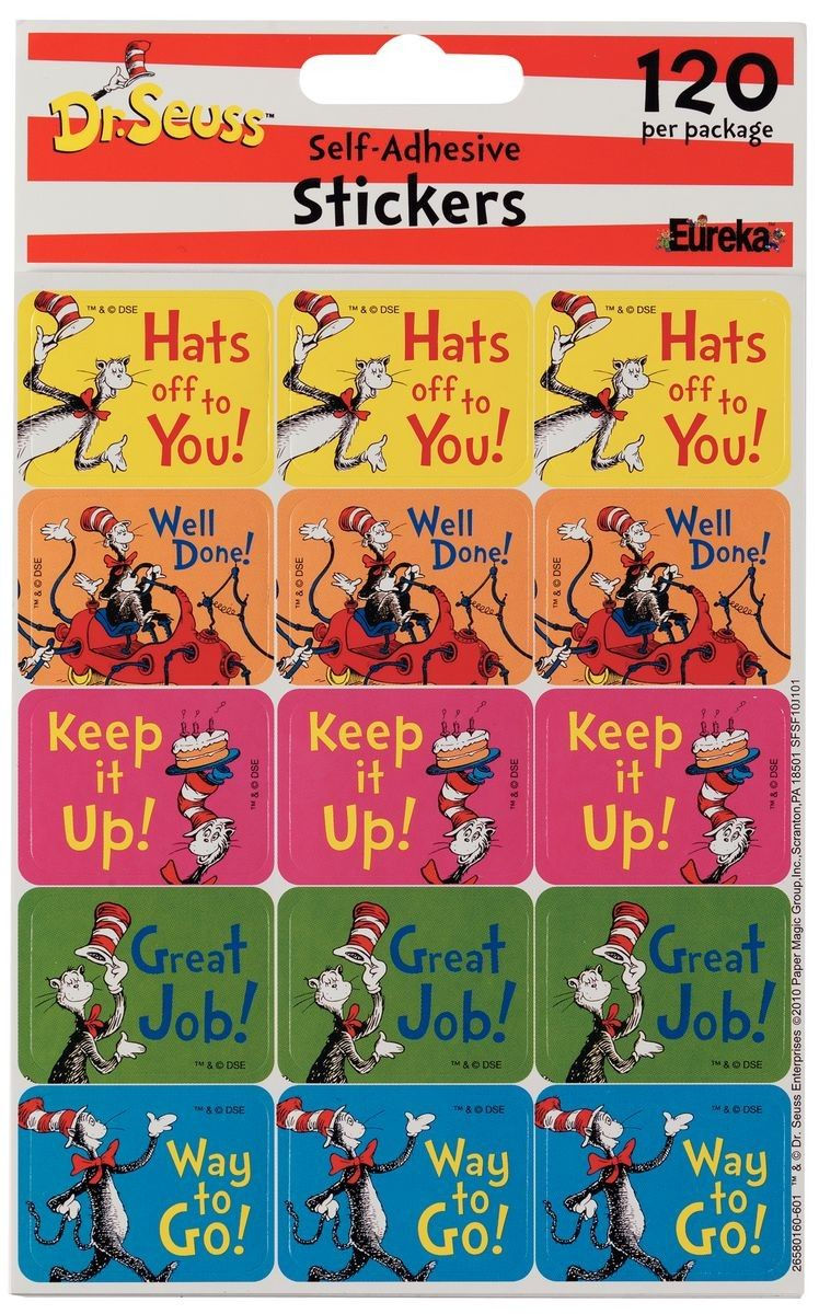 Reward good work or reading with the cat in the hat with messages reward good work or reading with the cat in the hat with messages such as hats off to you keep it up and way to go dr seuss incentive stickers fandeluxe Image collections
