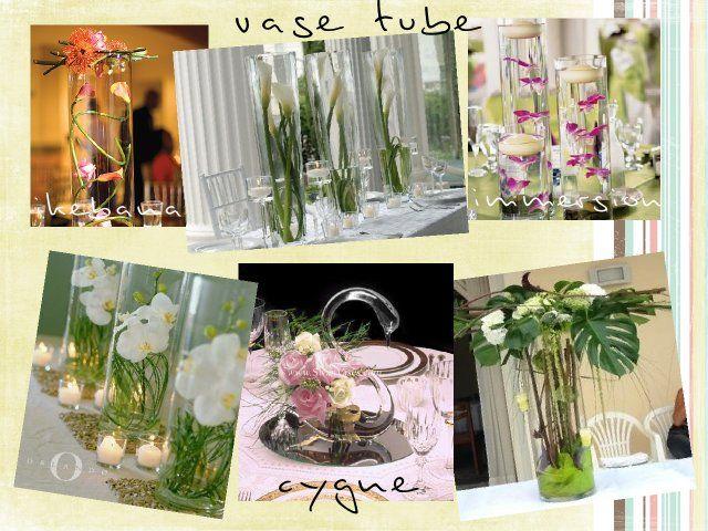 centre de table vase transparent tube ikebana fleurs immerges mariage pinterest mariage vase et centres de table - Decoration Tube A Essai Mariage
