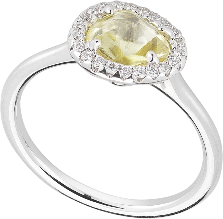 Grace rough diamond ring  featuring a radiantly clear yellow 0.81ct rough diamond micro pave acce...