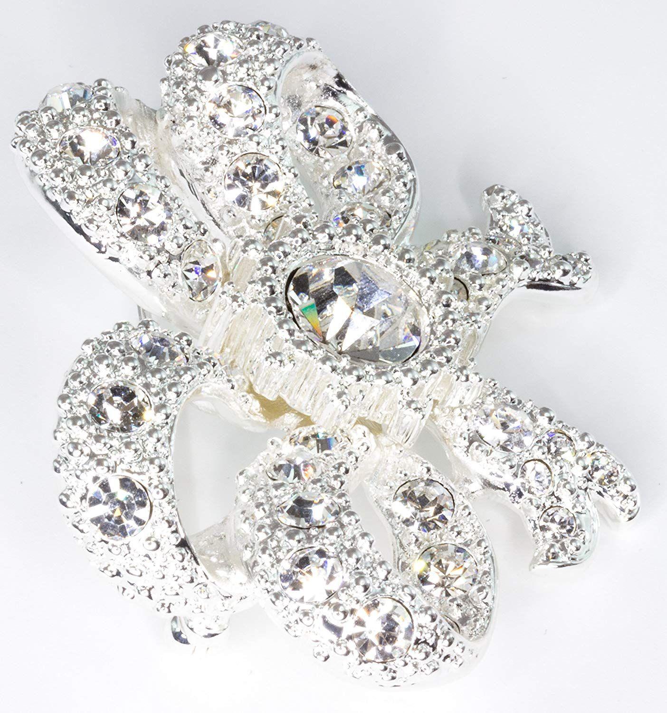 Queen Victoria Bow Brooch Small - Swarovski Crystal