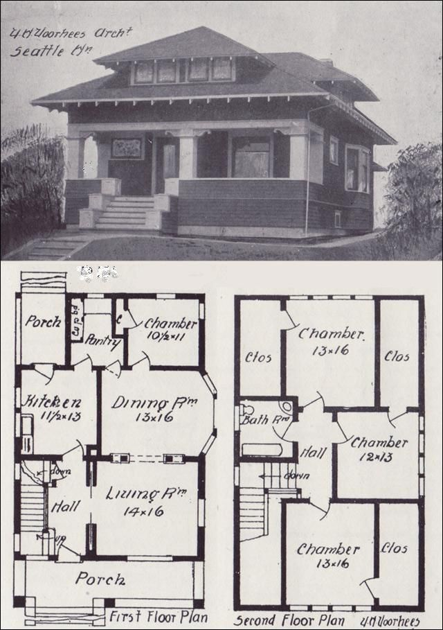 Early 1900s Free Old House Blueprint Plan Craftsman Bungalow House Plans Vintage House Plans Bungalow Floor Plans