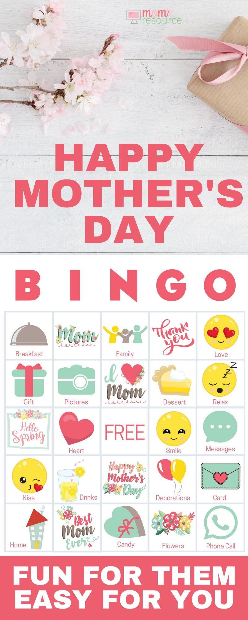 mother's day bingo card game  easy modern  fun in 2020