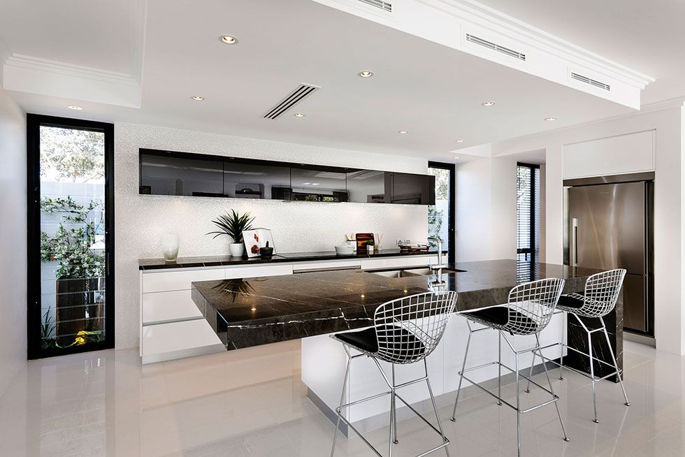 Galley White Kitchen With Black Benchtops Google Search