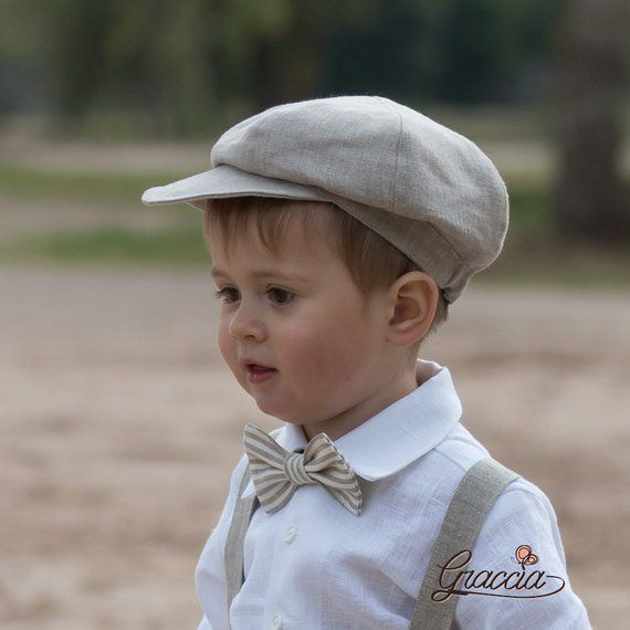 36441d3a7 Newsboy natural linen hat Baby boy newsboy hat Ring bearer newsboy ...