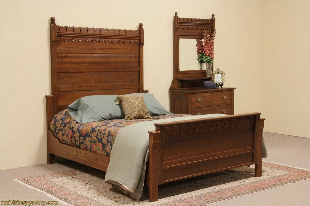 Eastlake 1880 Antique Oak Queen Size Bedroom Set Furniture Sets Victorian