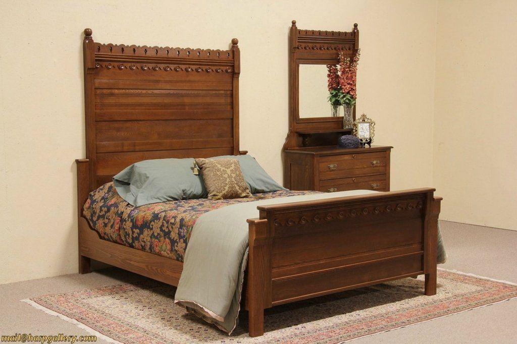 Eastlake 1880 Antique Oak Queen Size Bedroom Set Queen Sized