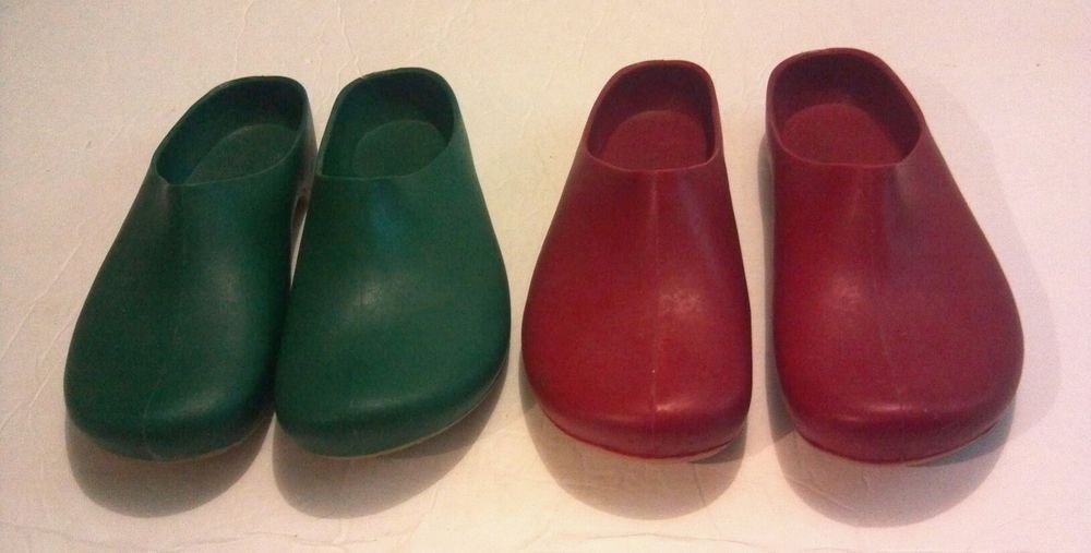Women\'s CPP Lot of 2 Pair Pairs Green Red Rain Garden Clogs Shoes ...