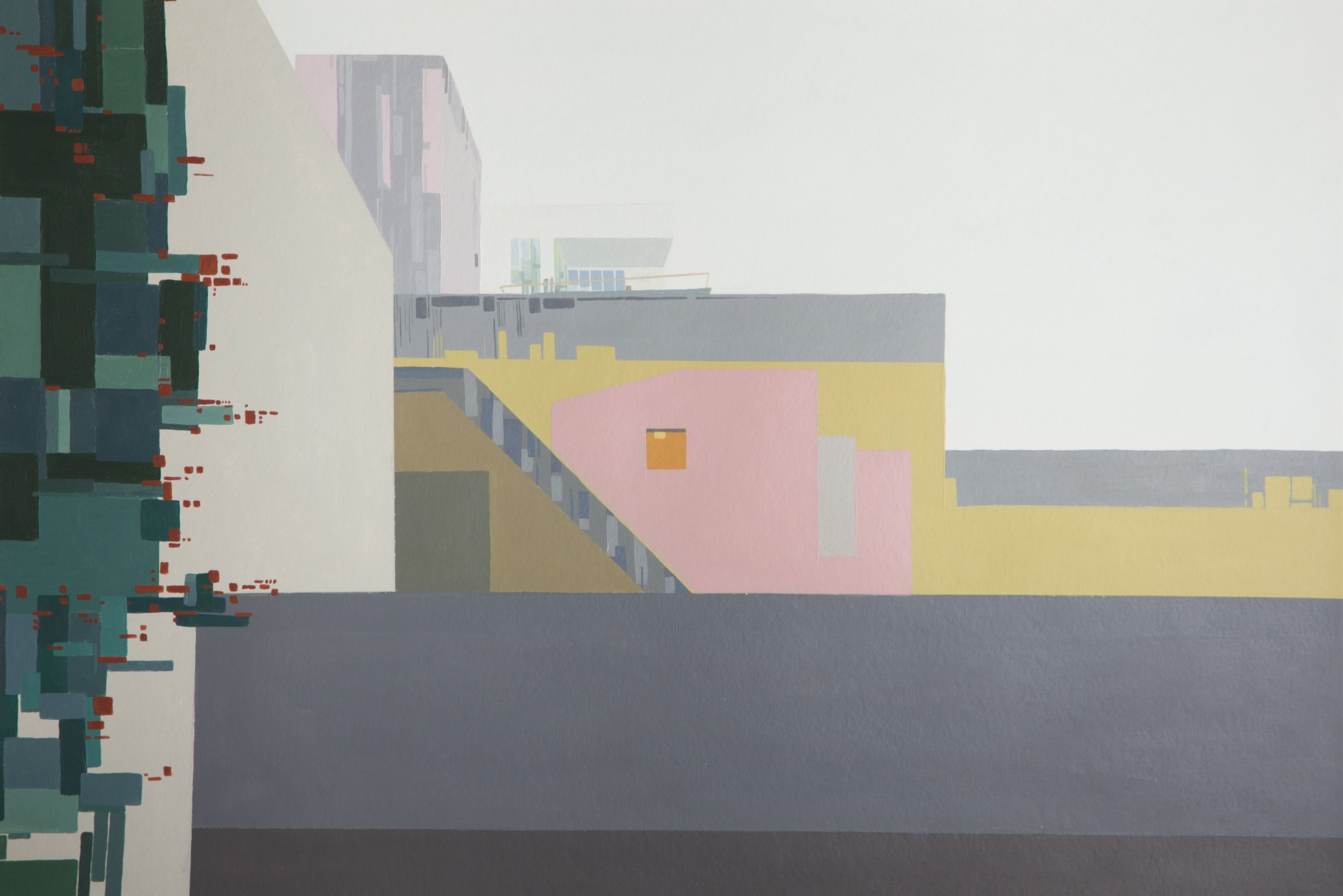 Casa Ortega Acrylique sur papier 58 x 36 cm Morgane Verdonck