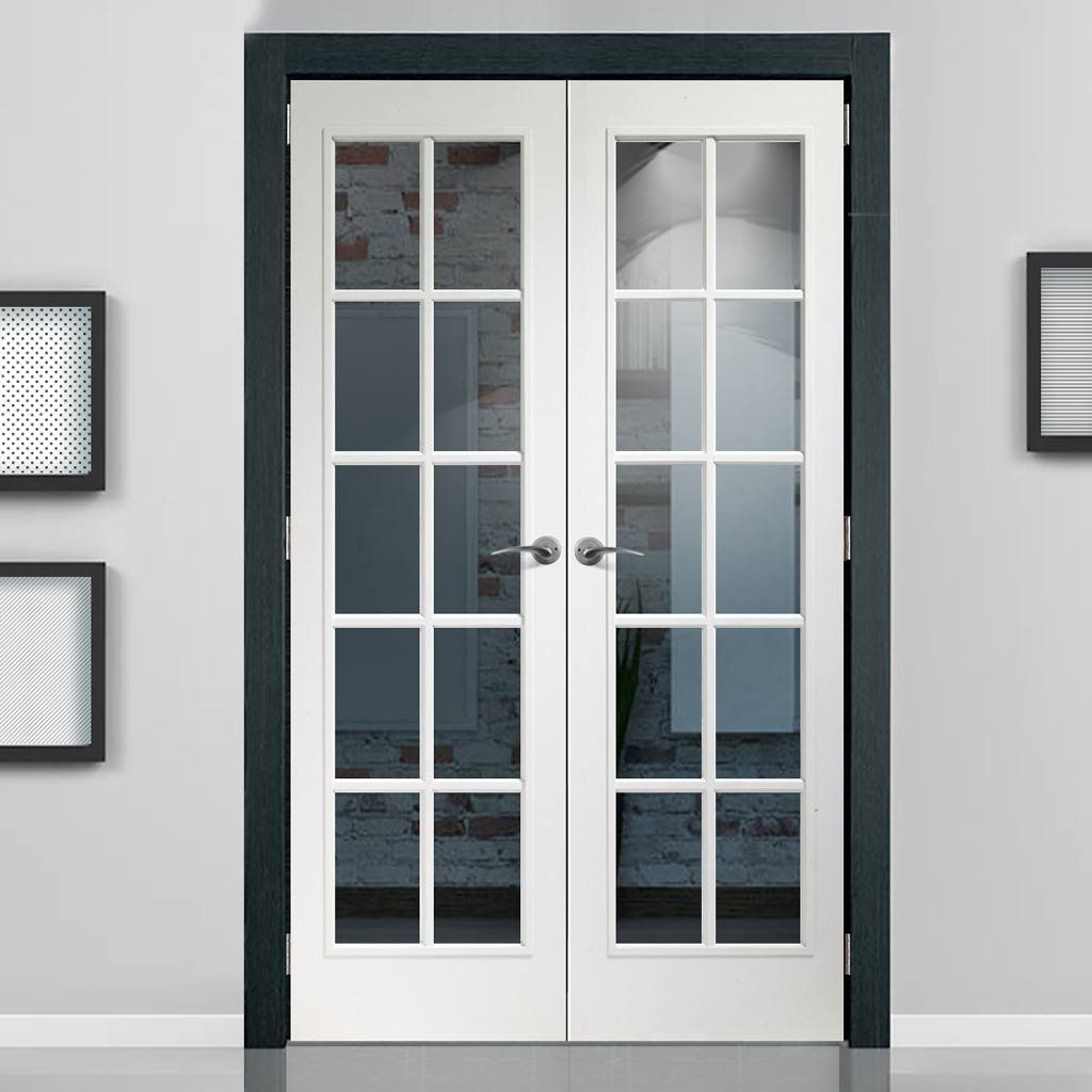 Portobello White Door Pair With Clear Safety Glass   Prefinished