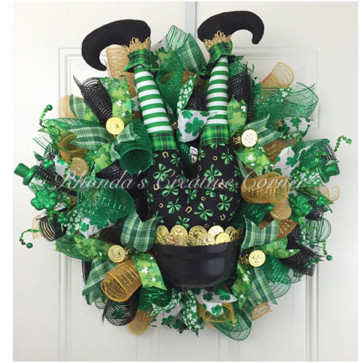 deco mesh st patricks day wreath st pattys day wreath pot of gold wreath deci mesh st. Black Bedroom Furniture Sets. Home Design Ideas