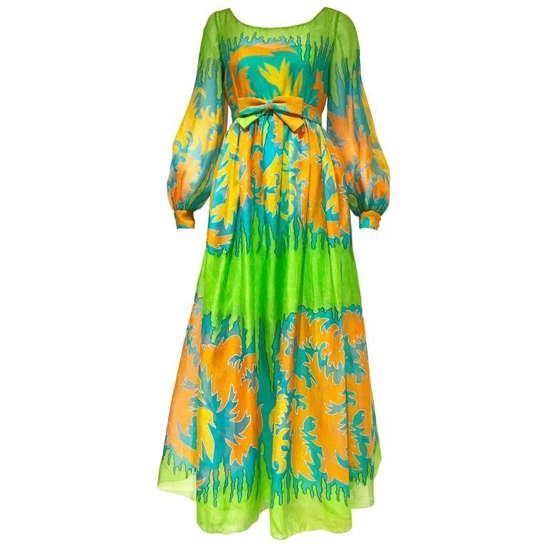 f4c6ded31f 1970s Malcolm Starr green silk print maxi dress in 2018