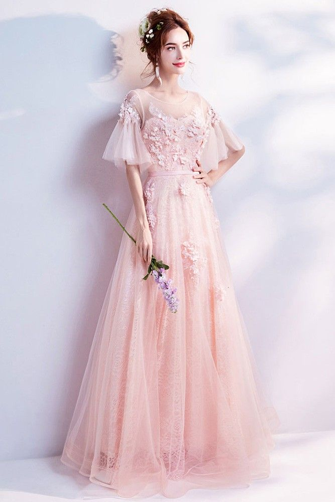 Beautiful Poofy Sleeved Pink Petal Lace Prom Dress In Floor Length Wholesale #T69318 - GemGrace.com
