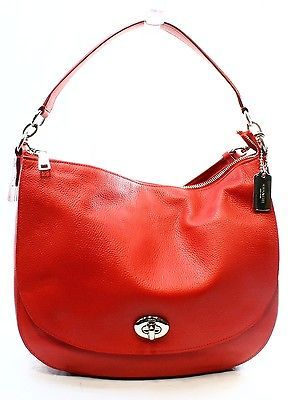 Coach NEW True Red Pebble Leather Turnlock Hobo Shoulder Bag Purse $350-#067 https://t.co/sAGLdcyoEY https://t.co/9047mjYaHs