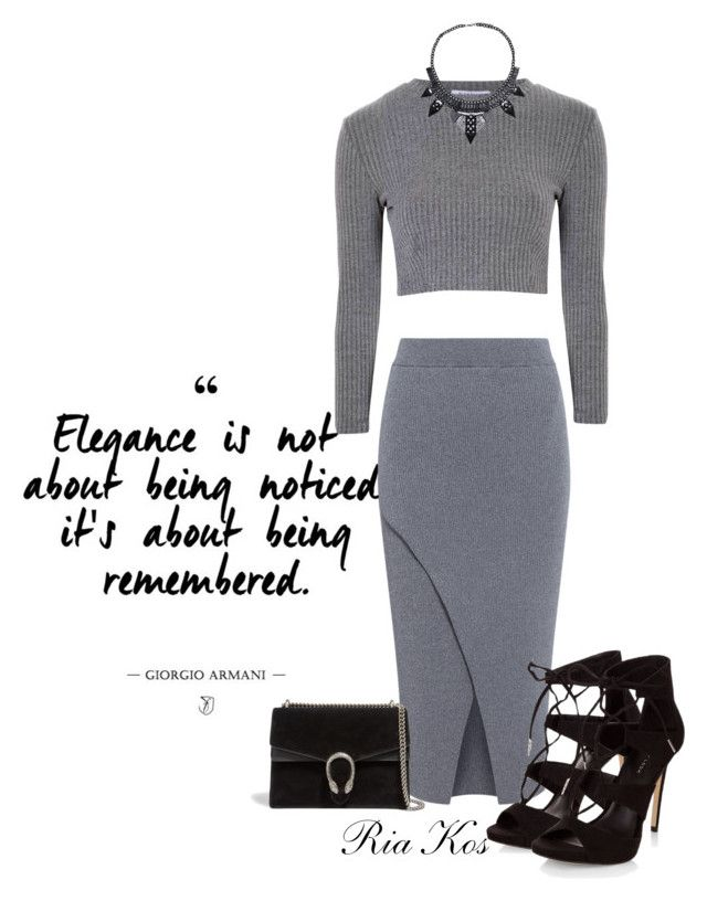 all grey by ria-kos on Polyvore featuring Glamorous, C/MEO COLLECTIVE and Gucci