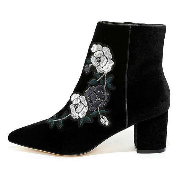 32b40fd09ca Steven by Steve Madden Brits Black Velvet Embroidered Booties ( 169) ❤  liked on Polyvore featuring shoes