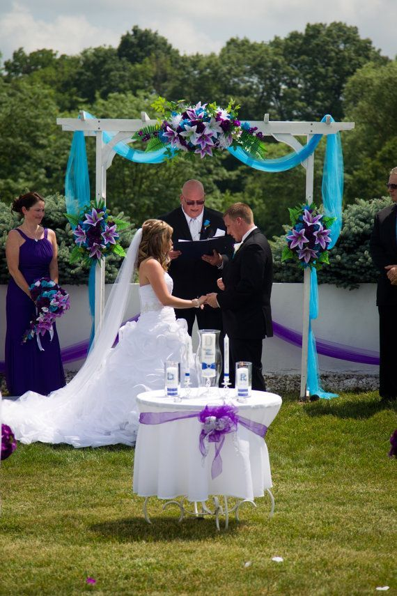 3pc Set Arch Decoration Wedding Events Turquoise And Purple White