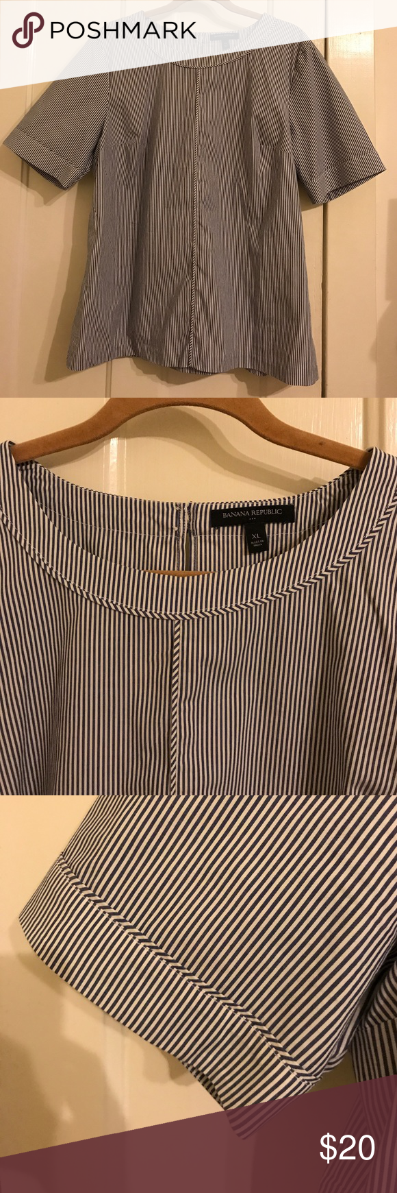 Blue and white striped top Short sleeve blue and white striped top. Dual button closure in back. Worn once, great condition, smoke free. From banana republic factory store. Banana Republic Tops Tees - Short Sleeve