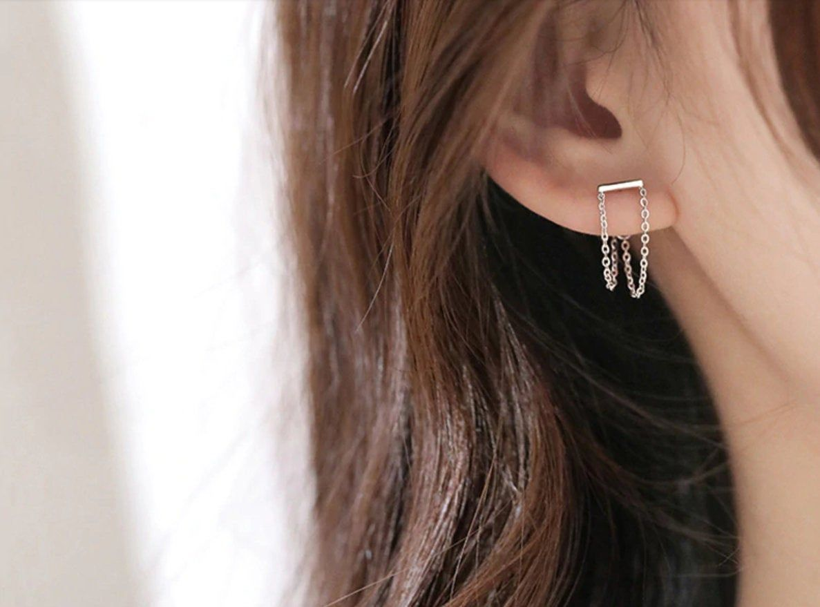 Stylish Silver Bar and Chain Stud Earrings. Dainty Drop  Etsy