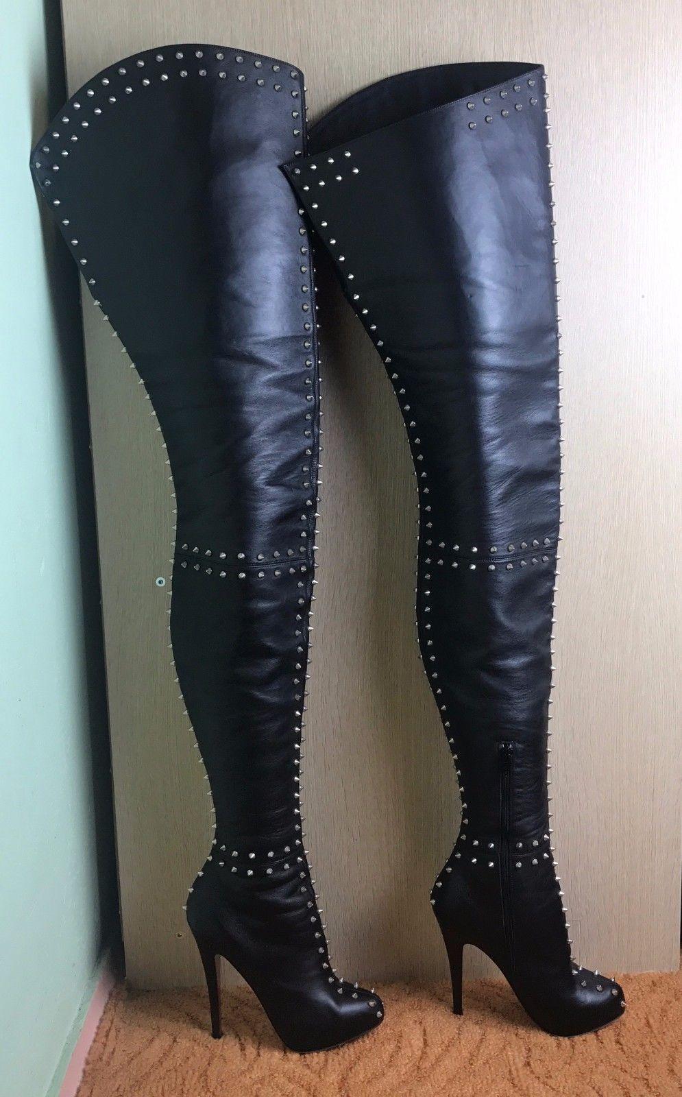 pretty nice 6cc1a 15bad Christian Louboutin Metropolis Black Leather Thigh-High ...