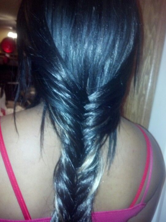 Close Up Of Hair Extensions With Fishtail Braid Omaha Hair