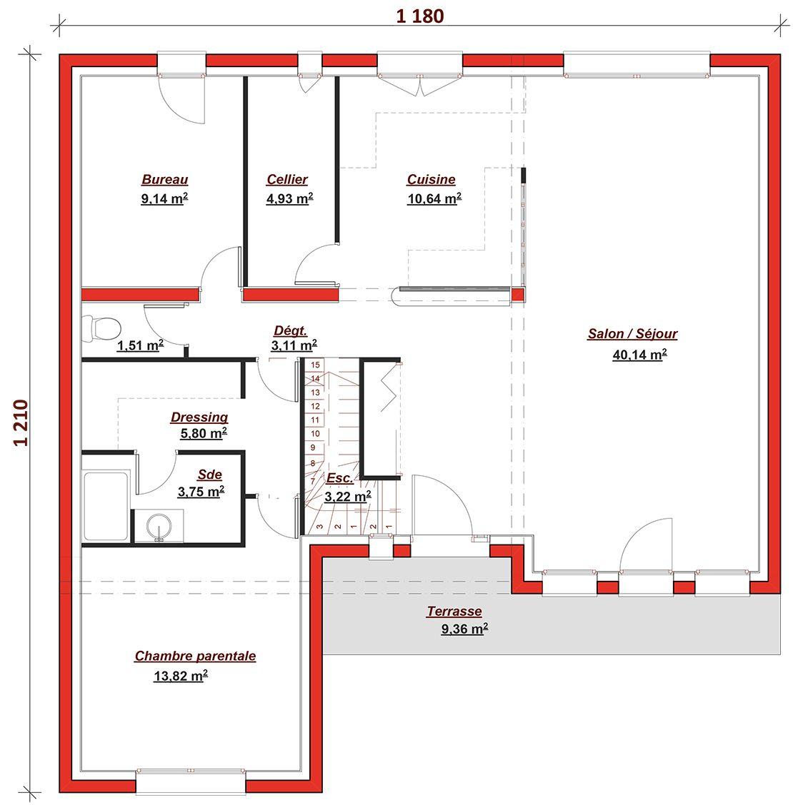 Maison tertre 145 maisons berval 306900 euros 145 m2 faire construire sa maison for Plan maison 3 chambres et un bureau