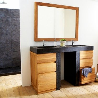 badschrank mit waschbecken aus teak 140 mary jo salle de bains salle et id es pour la maison. Black Bedroom Furniture Sets. Home Design Ideas