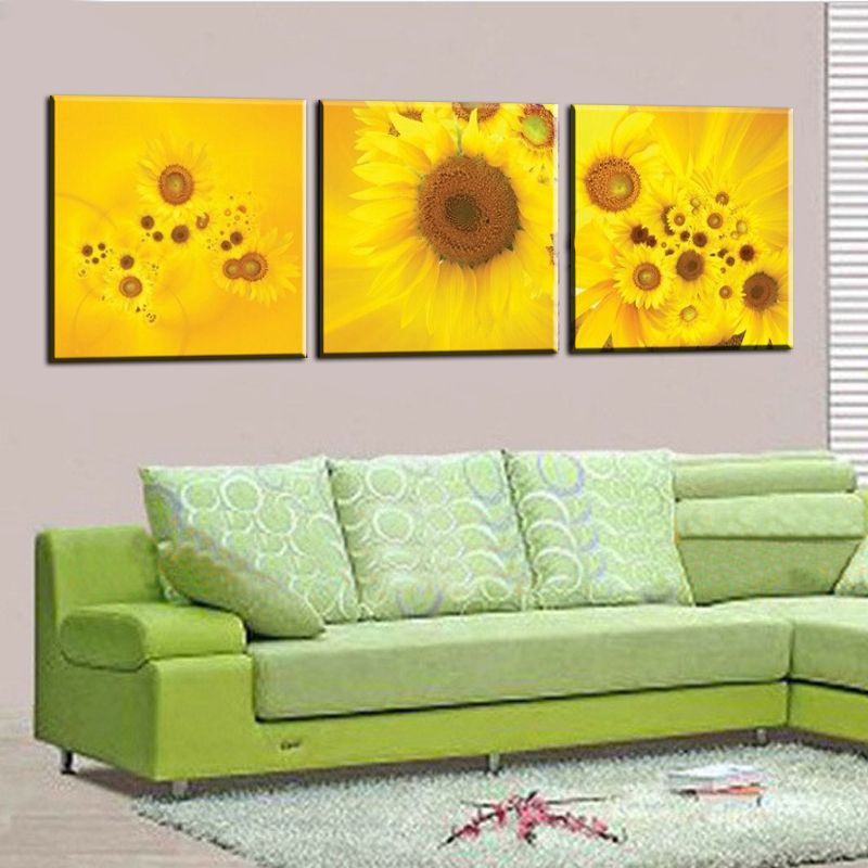 New 3 Piece Modern Wall Oil Painting Abstract Large yellow sunflower ...