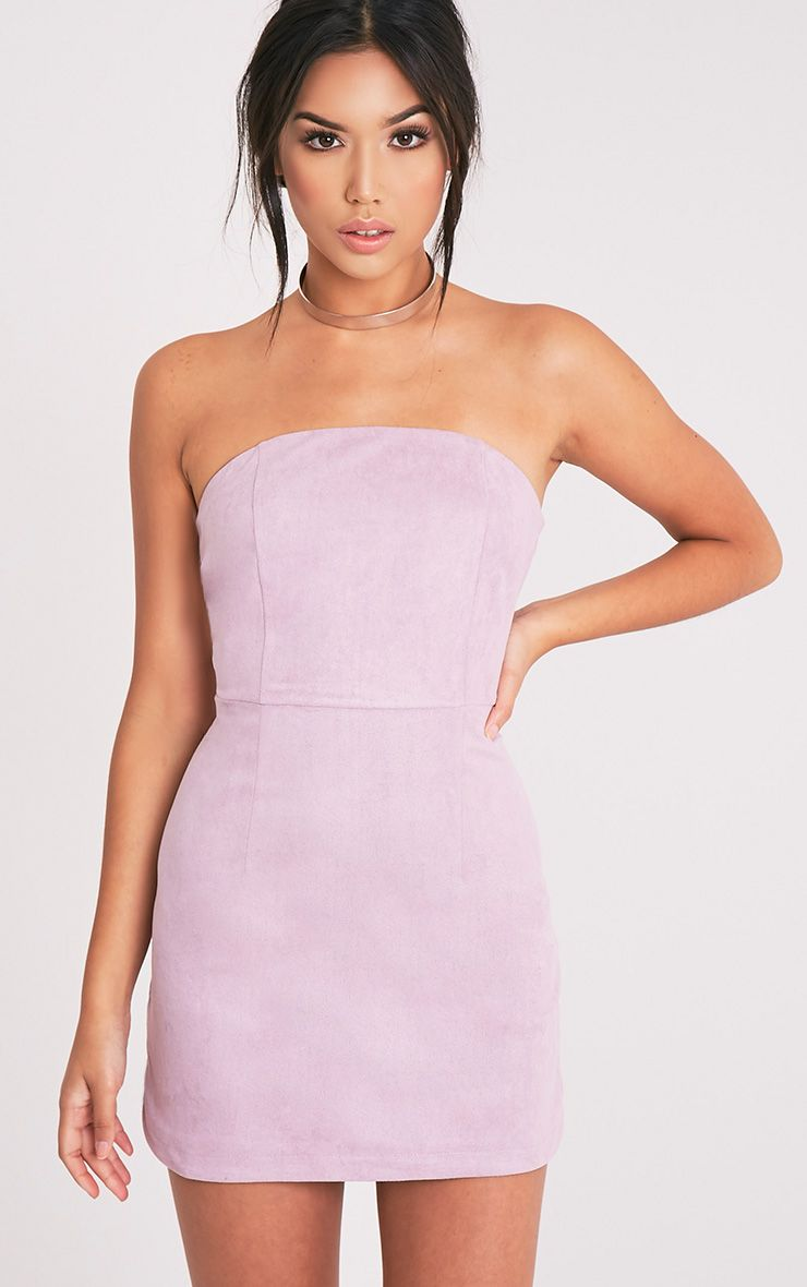 Konnie Lilac Faux Suede Bandeau Bodycon Dress - Dresses ...