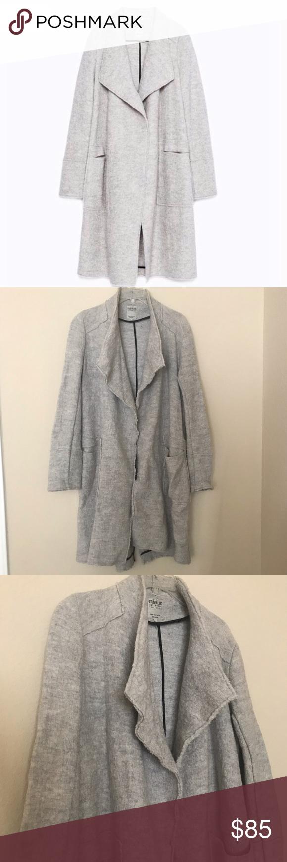 Zara Trafaluc Drape Waterfall Coat Fashion Clothes Design Waterfall Coat [ 1740 x 580 Pixel ]