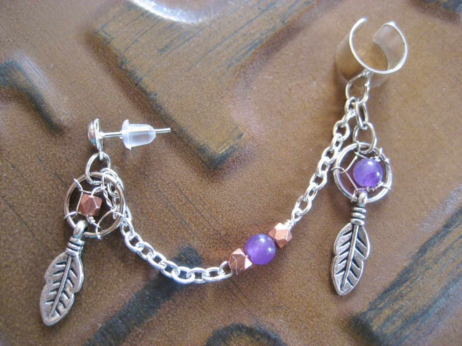 Dream Catcher Ear Cuff Dream Catcher Ear Cuff Chain Amethyst Copper Dreamcatcher Feather 32