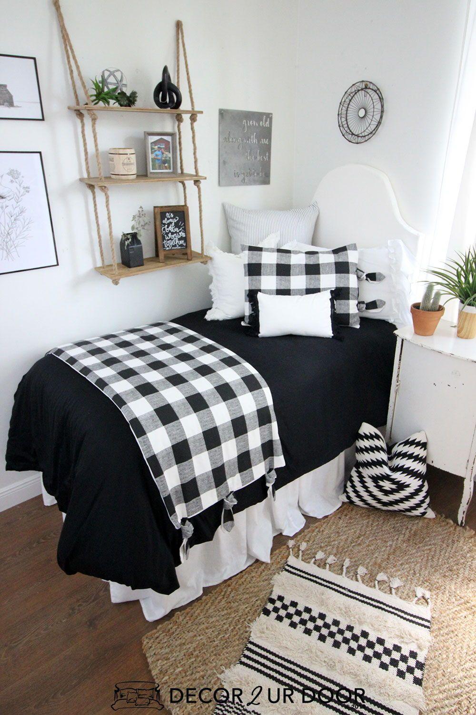 Farmhouse Black White Gingham Dorm Bedding Set White Dorm Room