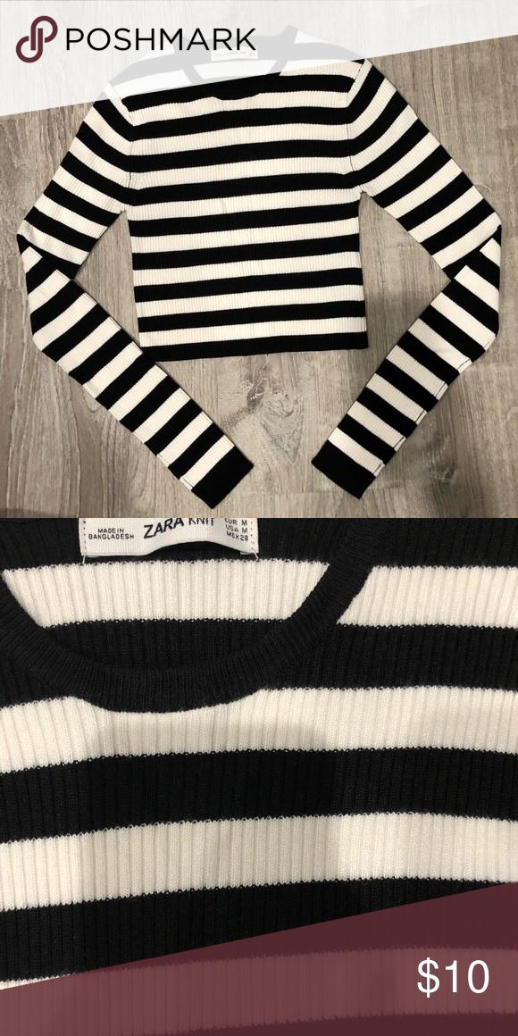 6d576008 Zara Cropped Striped Knit Pullover A beautiful striped cropped ribbed knit  top from ZARA! Only
