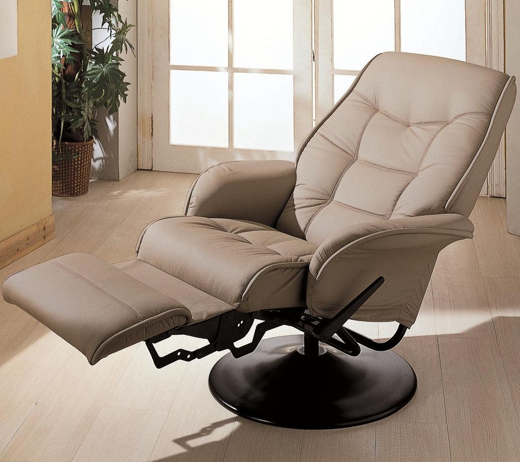 Office Workspace. Futuristic Beige Reclining Office Chair