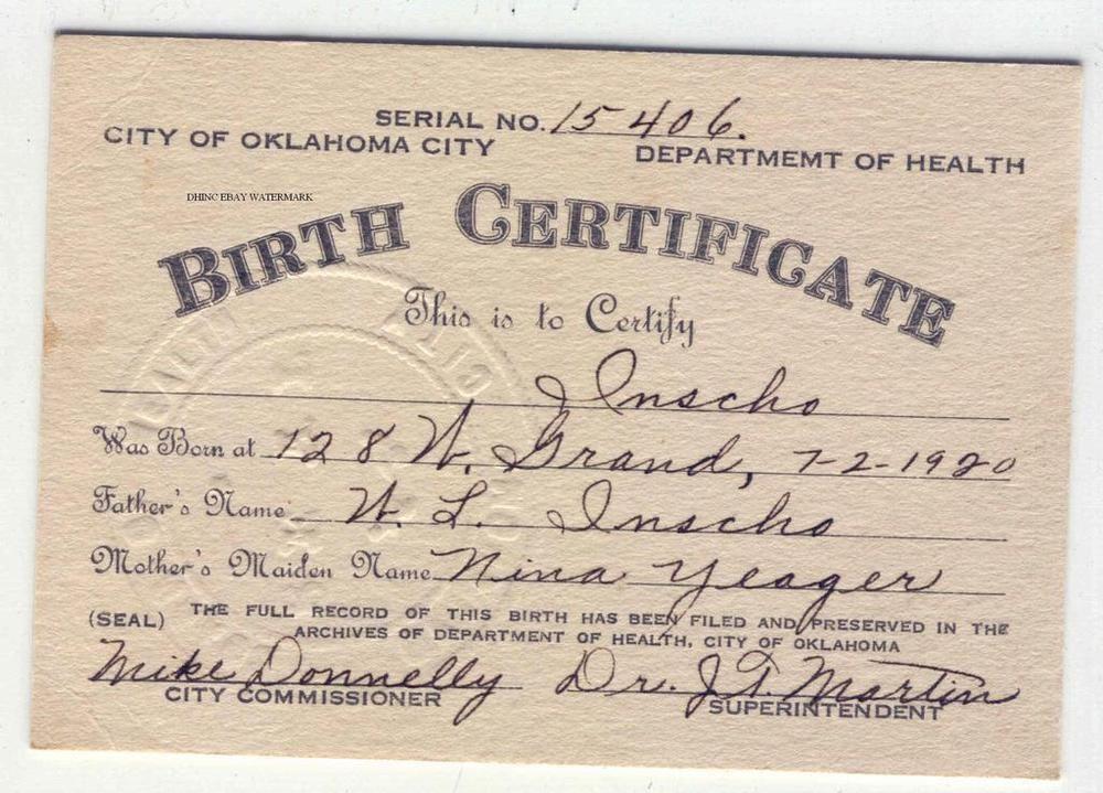 Original 1920 Birth Certificate Card Oklahoma City Department of ...