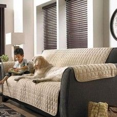 1-PC Beige Soft Micro Suede Couch Love seat Pet Furniture Protector Slip Covers