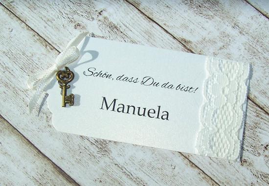Namenskartchen Escort Card Hochzeit Vintage Spitze Schlussel
